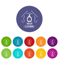 Cleaning wash icons set color vector