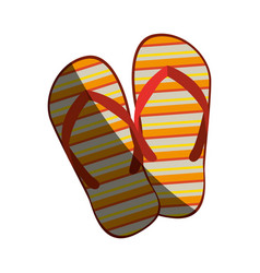colorful silhouette of beach flip-flops with half vector image