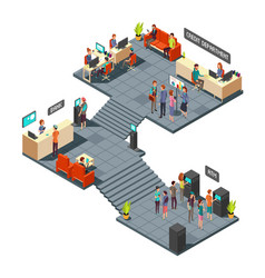 commercial bank office 3d isometric interior vector image