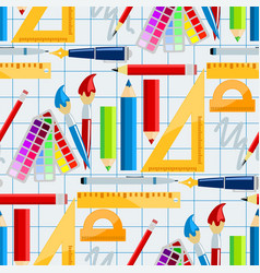 creativity school supplies seamless pattern vector image