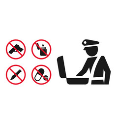 Customs control area sign and prohibition icons vector