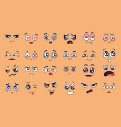cute cartoon faces face expressions happy vector image