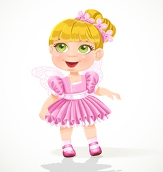Cute little girl in a pink tutu and wings vector image