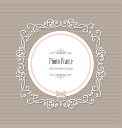 Decorative filigree frame with long shadows vector