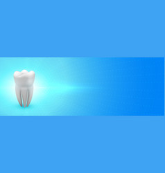 Dentist banner with 3d teeth and text space vector
