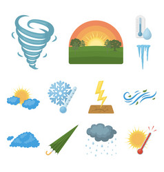 different weather cartoon icons in set collection vector image