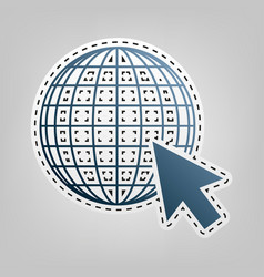 earth globe with cursor blue icon with vector image