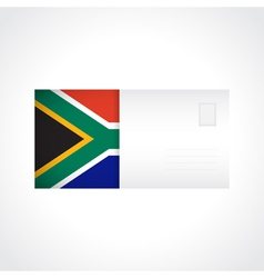 Envelope with flag of South Africa card vector image