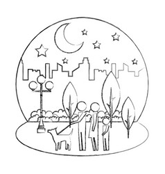 family walking with dog in night park city vector image