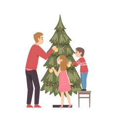 Father and his kids decorating christmas tree vector