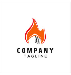 fire and ship logo vector image