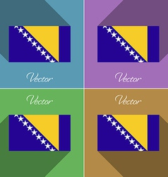 Flags Bosnia and Herzegovina Set of colors flat vector image