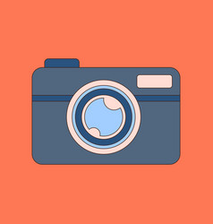 Flat icon on background camera vector