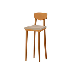 Flat of wooden bar stool with backrest and vector