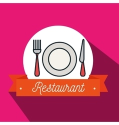 Fork plate knife restaurant icon vector