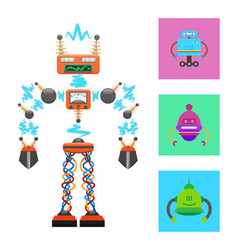 Futuristic robot template on white background vector