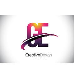 Ge g e purple letter logo with swoosh design vector