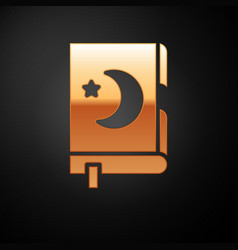Gold holy book koran icon isolated on black vector