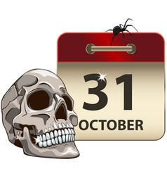 halloween calendar with skull vector image