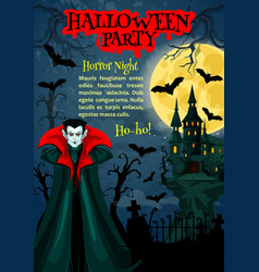 Halloween horror night party poster with vampire vector