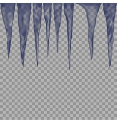 Hanging translucent icicles in blue colors on vector