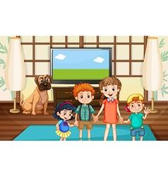 Happy children in the room vector