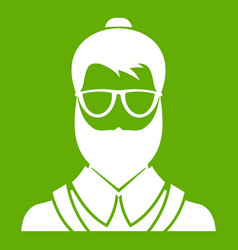 hipsster man icon green vector image