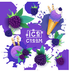 ice cream with blackberry taste dessert colorful vector image