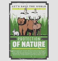 let save world nature and animals protection vector image