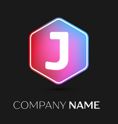 letter j logo symbol in colorful hexagonal vector image