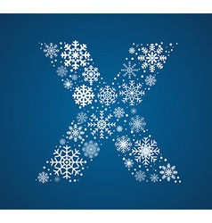 Letter X font frosty snowflakes vector