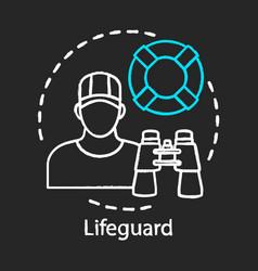 Lifeguard chalk icon professional rescuer beach vector
