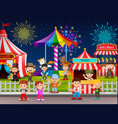 Many childrens and people worker having fun vector