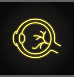 Neon human eyeball icon in line style vector
