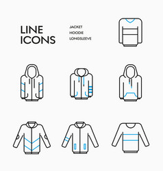 Outerwear linear icons set vector