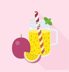 Passion fruit in mason jar with ripe of passion vector