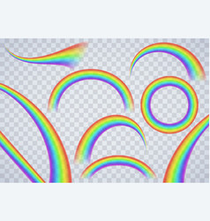 rainbow elements on transparent background vector image
