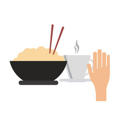 rice bowl and hot drink cup vector image