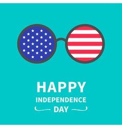 Round glasses stars and strips independence day vector