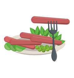 Sausages and salad on dish with fork vector