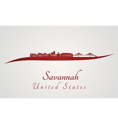 Savannah skyline in red vector