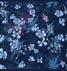 Seamless pattern with hand drawn blue flowers vector