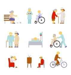 Senior health care service icons vector