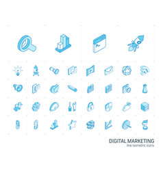 seo and digital market analytics isometric line vector image