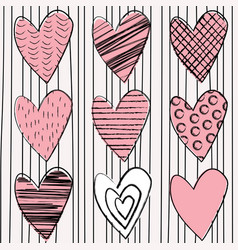 Set doodle hearts on striped background vector