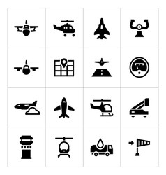 Set icons of aviation vector
