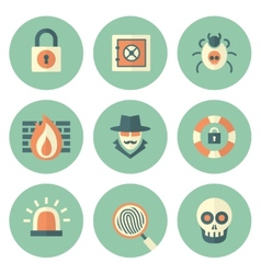 Set of Circle Security Icons vector image