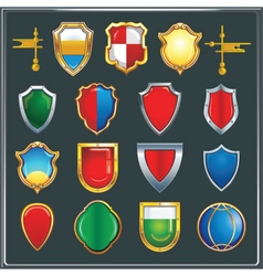 Set of different color and shape of heraldic shiel vector image