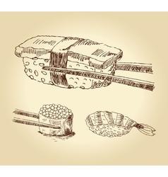 set of hand drawn sushi vector image
