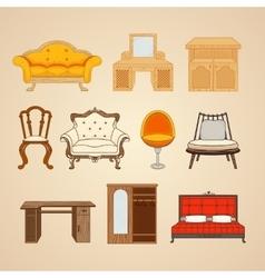 Set of ten of home furnishings vector